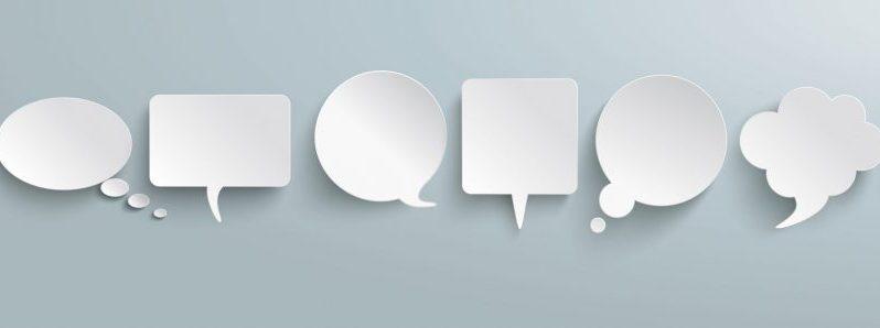 Gespächsblasen als Symbol für Meinungen äußern